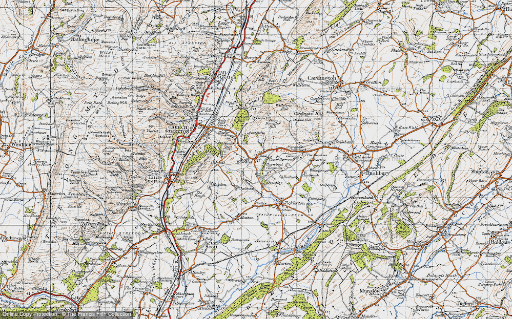 Old Map of Historic Map covering Woodgate Cott in 1947