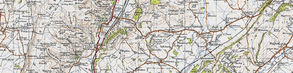 Old map of Woodgate Cott in 1947