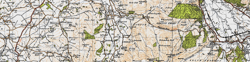 Old map of Whinlatter Pass in 1947