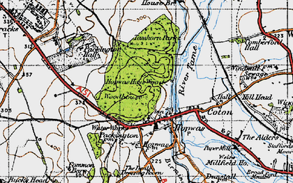 Old map of Hopwas in 1946