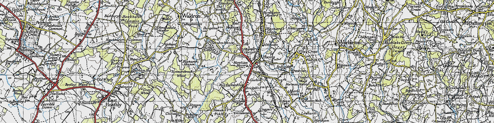 Old map of Horam in 1940