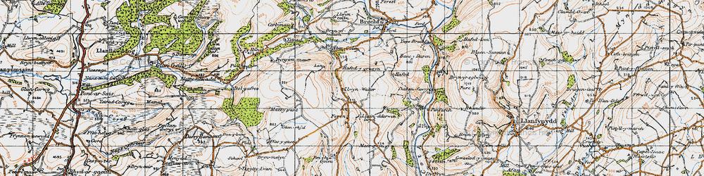 Old map of Aber-Goleu in 1947