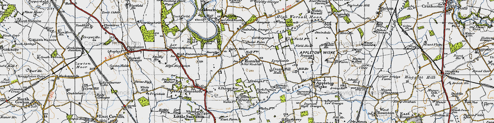 Old map of West Worsall in 1947