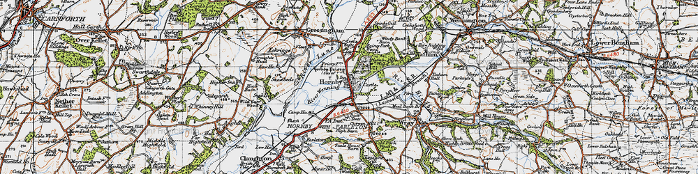 Old map of Hornby in 1947