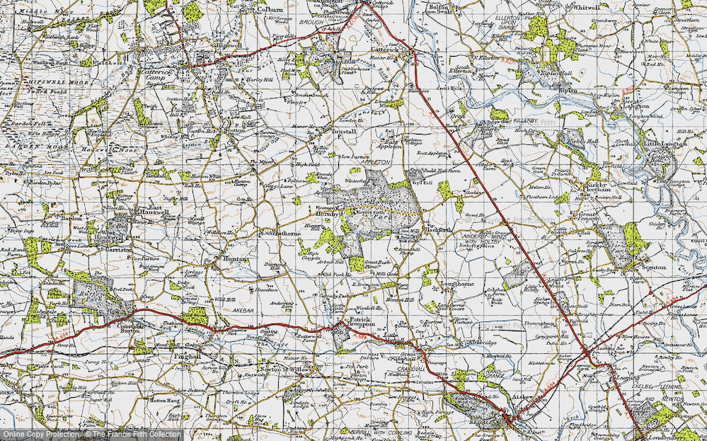 Old Map of Historic Map covering Abour Hill in 1947