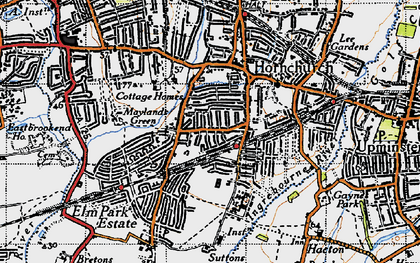 Old map of Hornchurch in 1946