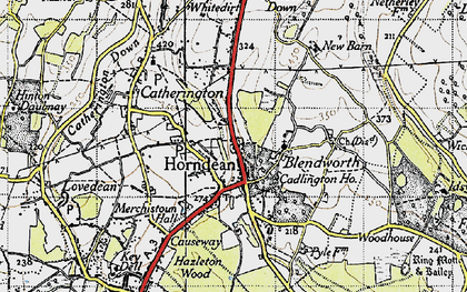 Old map of Horndean in 1945