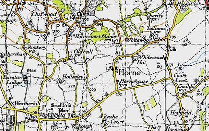 Old map of Horne in 1946