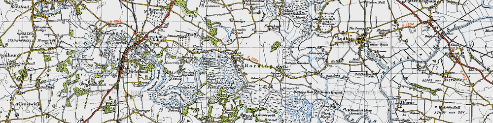 Old map of Horning in 1945