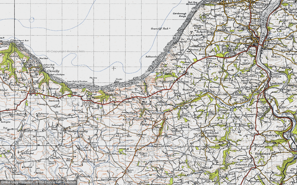Old Map of Horns Cross, 1946 in 1946