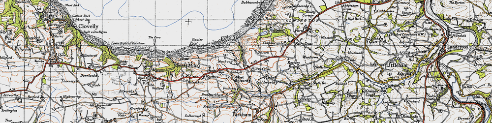 Old map of Horns Cross in 1946