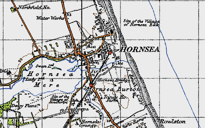 Old map of Hornsea in 1947
