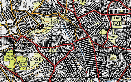 Old map of Hornsey in 1945