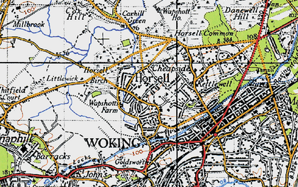 Old map of Horsell in 1940