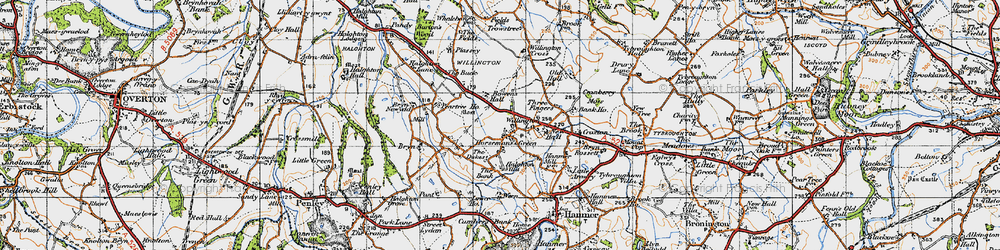 Old map of Willington Cross in 1947