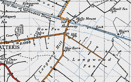 Old map of Langwood Hill in 1946