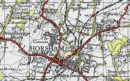Old map of Horsham in 1940