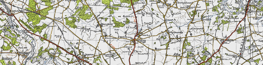 Old map of Horsham St Faith in 1945