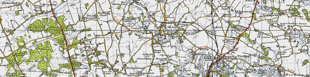 Old map of Horstead in 1945