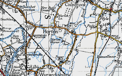 Old map of Wraysbury Reservoir in 1945