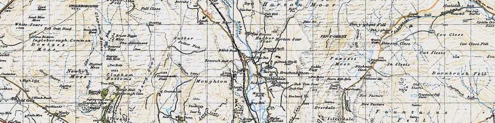 Old map of Horton in Ribblesdale in 1947
