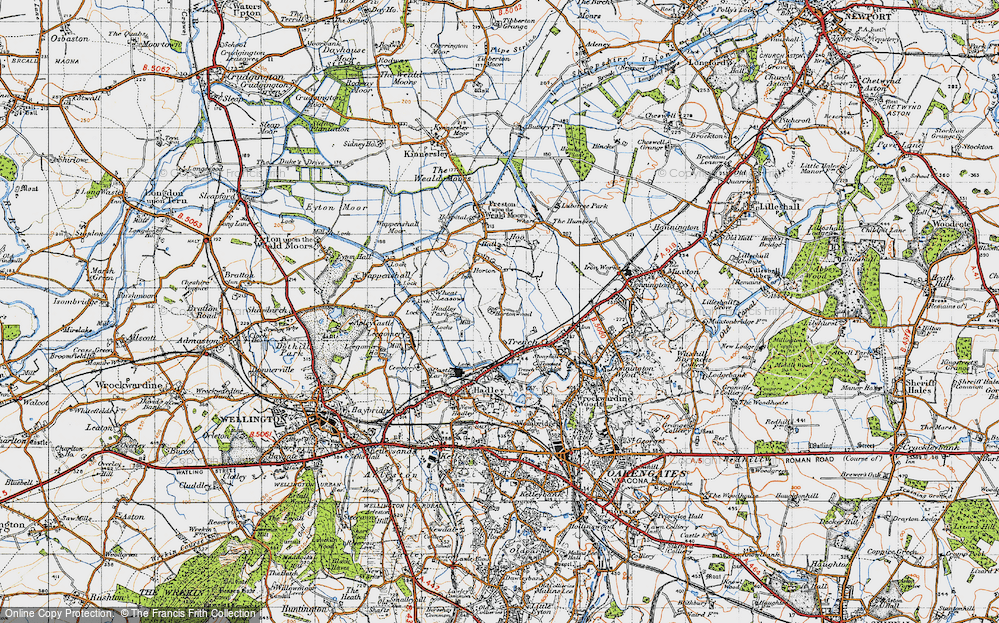 Old Map of Historic Map covering Wheat Leasows in 1947