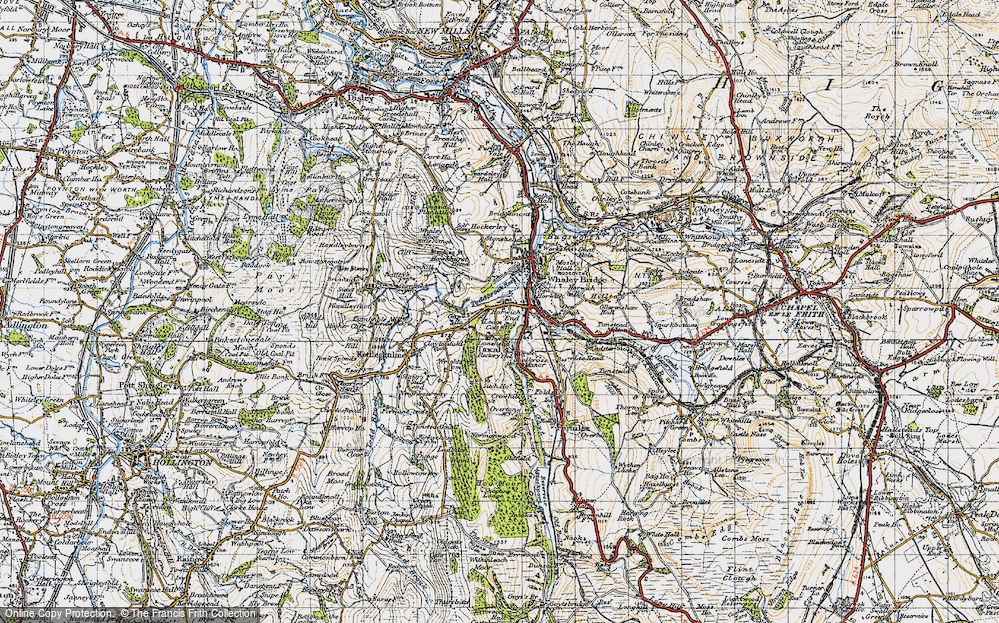 Old Map of Historic Map covering Toddbrook Resr in 1947