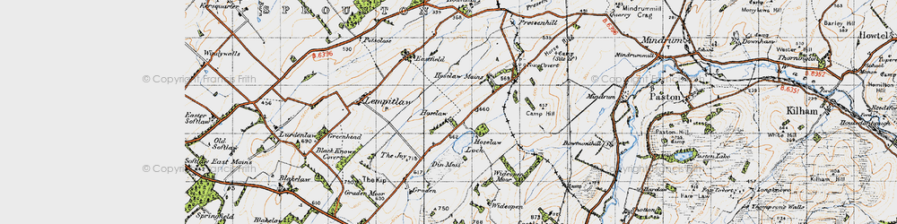 Old map of Wideopen Moor in 1947