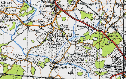 Old map of Hothfield in 1940