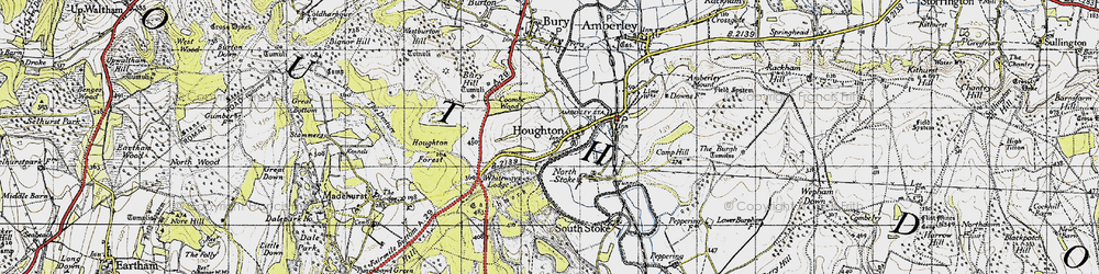 Old map of Whiteways Lodge in 1940