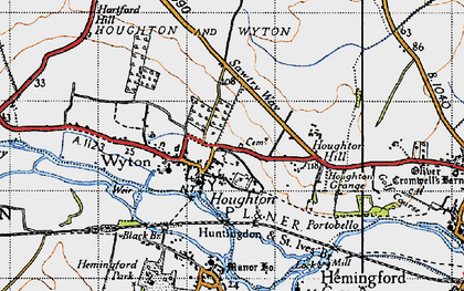 Old map of Houghton in 1946
