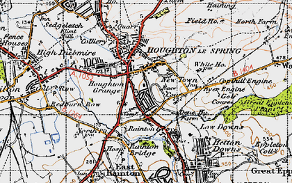 Old map of Houghton-Le-Spring in 1947