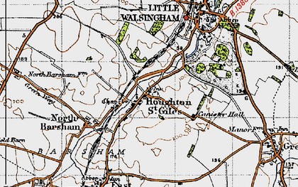 Old map of Houghton St Giles in 1946