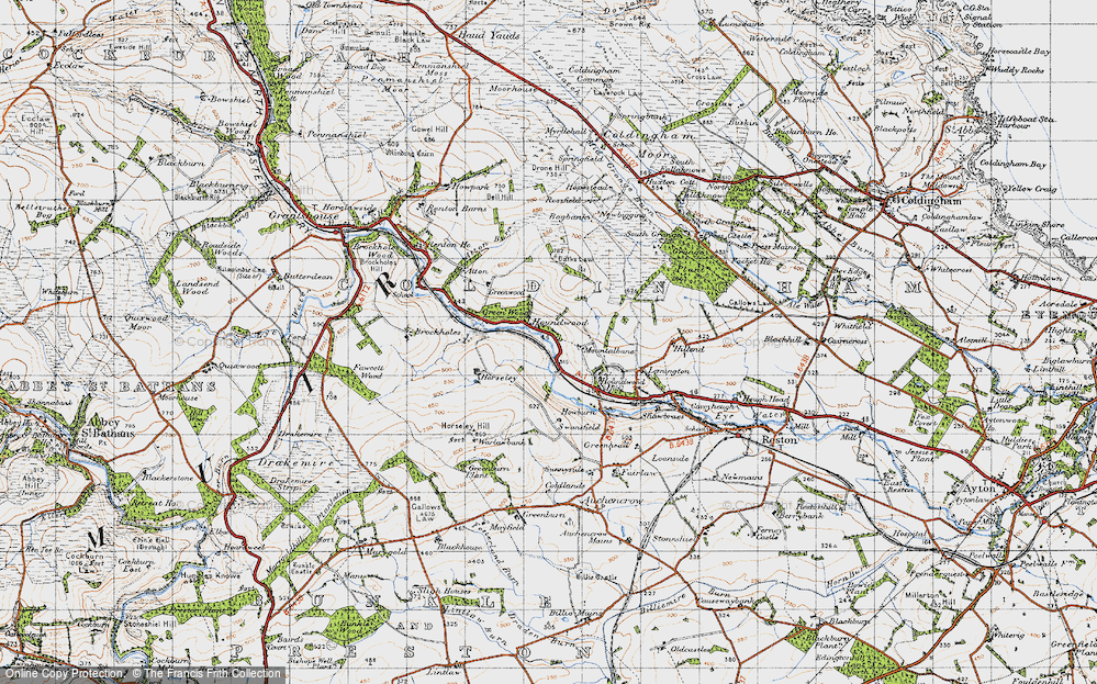 Old Map of Historic Map covering Lemington in 1947