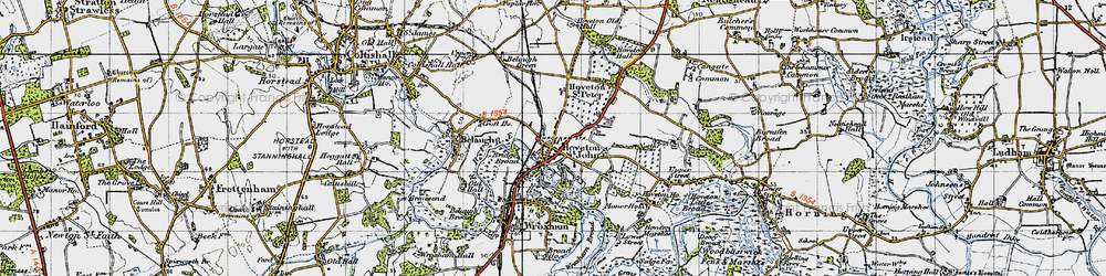 Old map of Hoveton in 1945