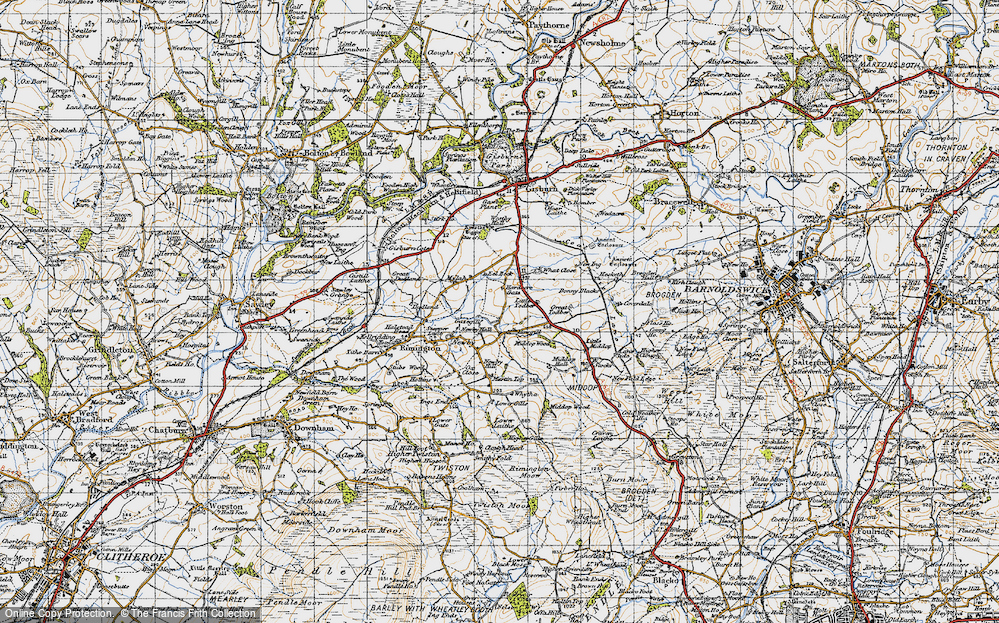 Old Map of Historic Map covering Lane Side in 1947