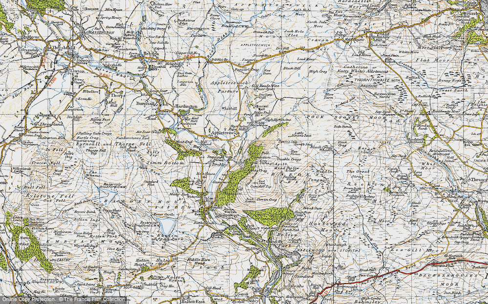Old Map of Historic Map covering Barden Fell in 1947