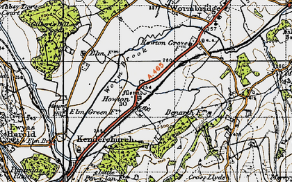 Old map of Worm Brook in 1947