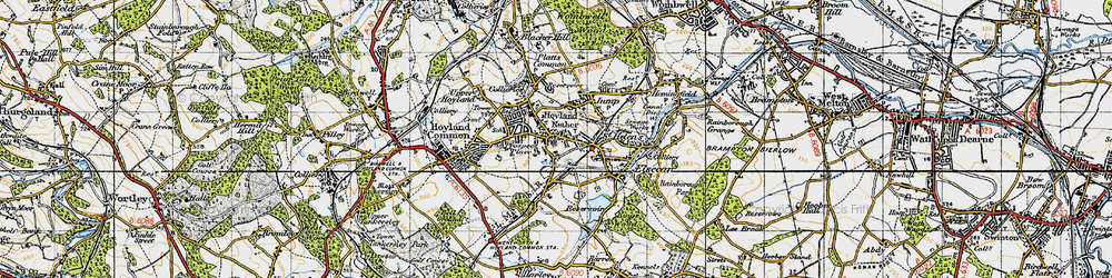 Old map of Hoyland in 1947