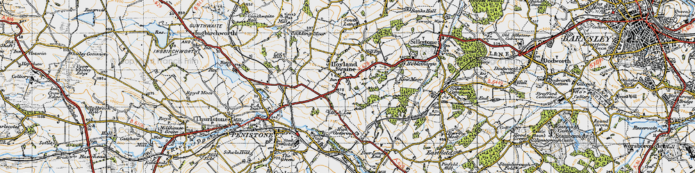 Old map of Hoylandswaine in 1947