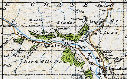 Old map of Hubberholme in 1947