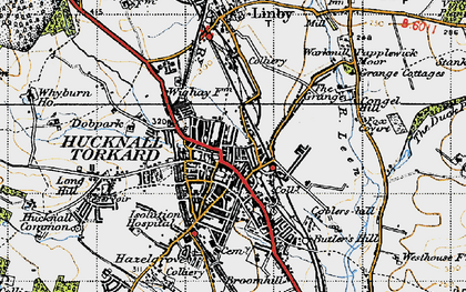 Old map of Hucknall in 1946