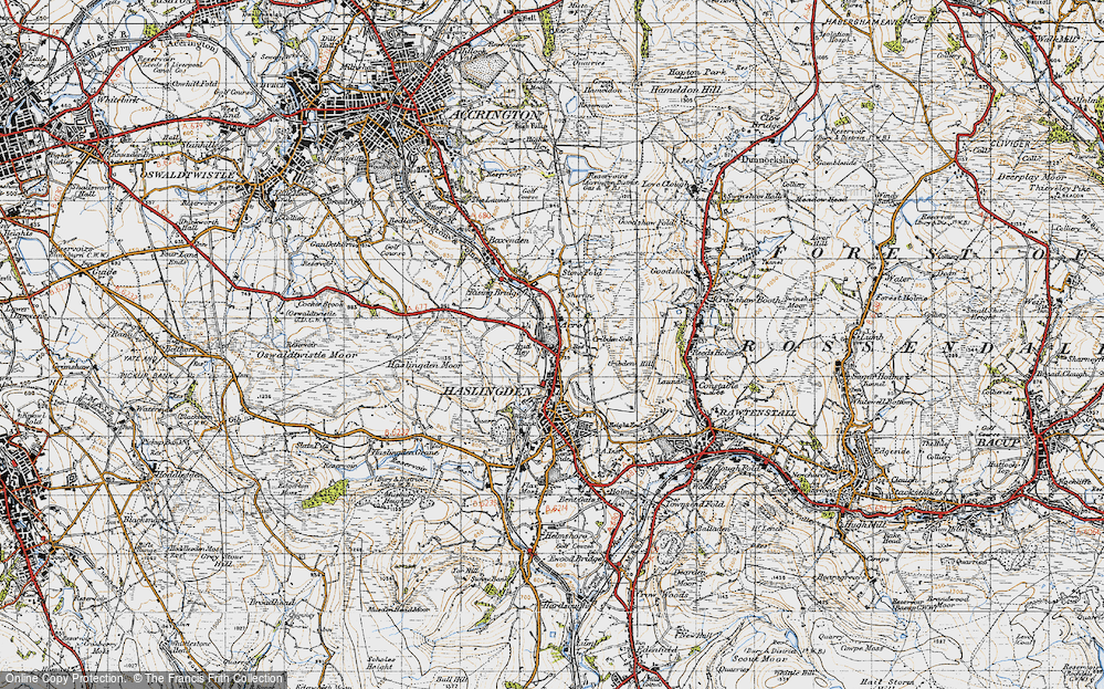 Old Map of Historic Map covering Acre in 1947