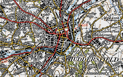 Old map of Huddersfield in 1947