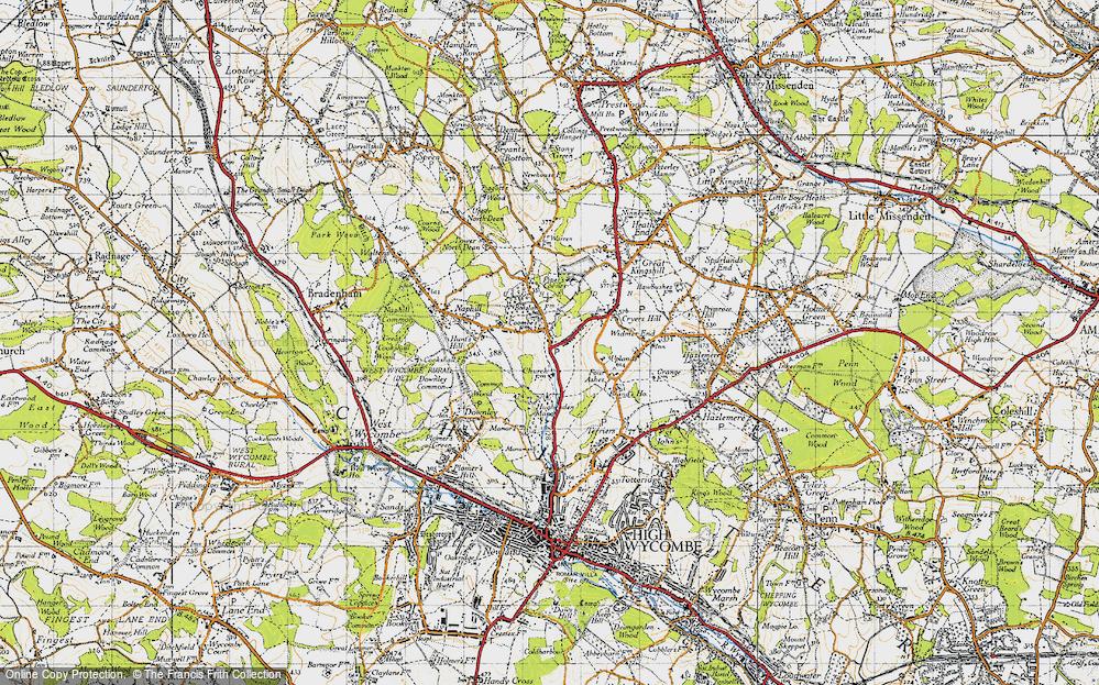 Old Map of Hughenden Valley, 1947 in 1947
