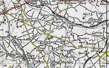 Old map of Hugus in 1946