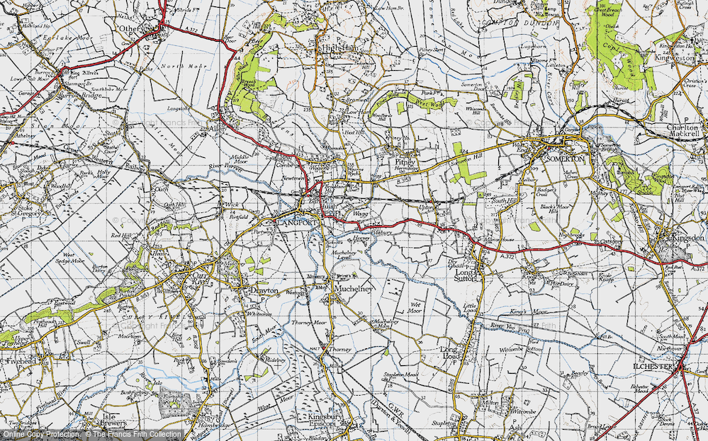 Old Map of Huish Episcopi, 1945 in 1945