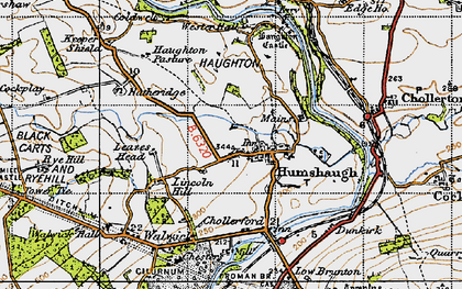 Old map of Leazes Head in 1947