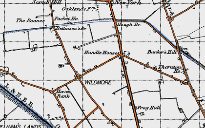 Old map of Wildmore Fen in 1946