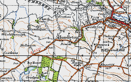 Old map of Hundleton in 1946